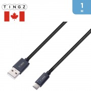 TINGZ USB-A to Type-C Charging Cable 1m – Black