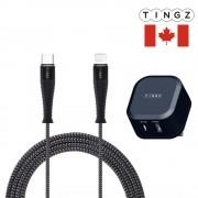 TINGZ 2-in-1 Charger + 2M Type-C to Lightning Cable (PD), 3 pins (UK Plug)