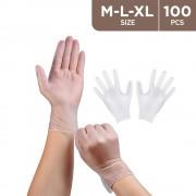 100 Pcs Vinyl Disposable Gloves Powder Free - Clear