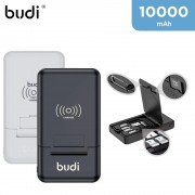 Budi 10,000mAh Wireless Fast Charging Power Bank with USB Cables Box and SIM Card Accessories
