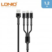 LDNIO 3.4 A 3 In 1 Fast Charger Cable 1m - Grey
