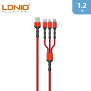 LDNIO 3.4 A 3 In 1 Fast Charger Cable 1m - Red