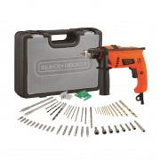 Black & Decker 650W 50 Pcs Hammer Drill Kit - Black & Orange