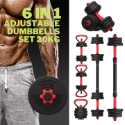 6 in 1 Adjustable Dumbbells, Barbell, Kettle Bell, Push Ups, Hand Weights Up to 20 KG