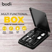 Budi 6 in 1 Multi-Functional USB Cables Box with SIM Card Accessories