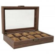 12 Grid Wooden Watch Organizer Storage Box