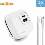 Moxom 20W PD Fast Wall Charger with Type-C Lightning Cable