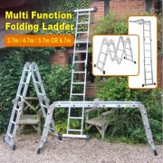 HI-TEX Multi Function Foldable Aluminium Ladder Size 3.7m, 4.7m, 5.7 or 6.7m