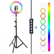 """10"""" RGB Multiple colors Lamp Selfie Ring Light with Mobile Holder"""