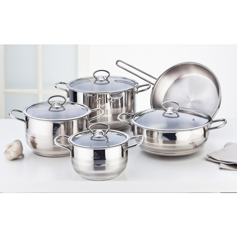 Falez Beta Stainless Steel Set 9 Pcs With Glass Lid