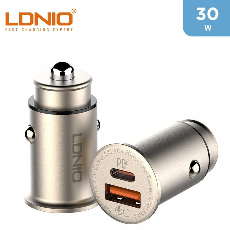 LDNIO 30W Car Charger With Two Ports For iPhone 12 + Type -C to Lightning Cable