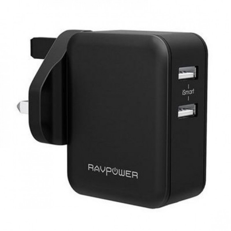 RAVPower 24W Wall Charger 2 Ports UK - Black