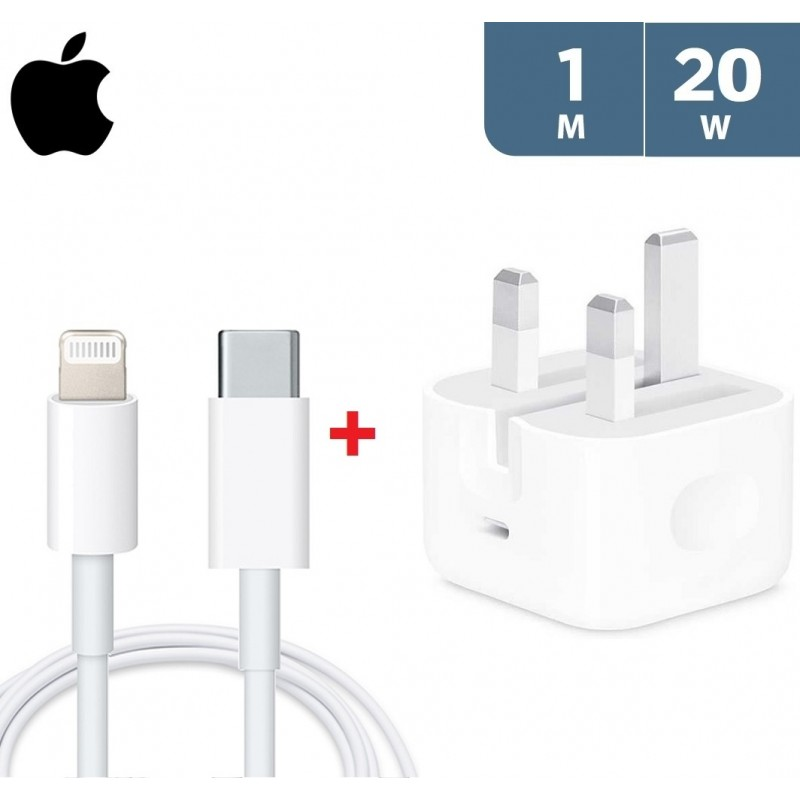 Apple 20W USB-C Power Adapter + Apple USB-C to Lightning Cable 1m - White