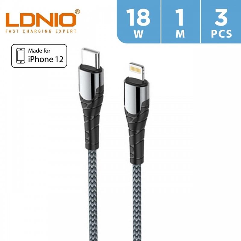 LDNIO 18W Type -C to Lightning Cable 1m (3 PCS)
