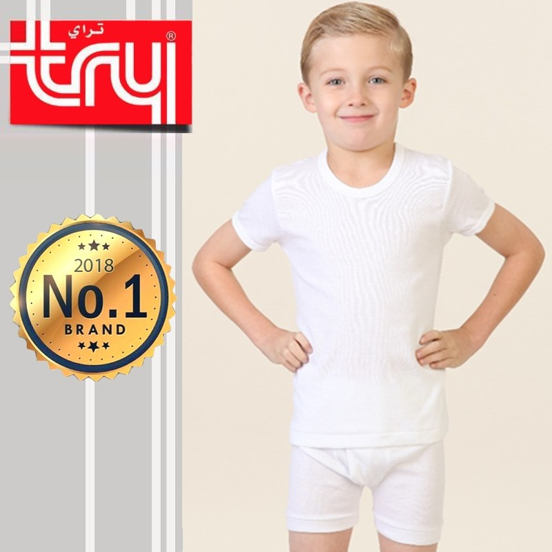 Set of 6 Shirt Half Sleeve + Short Underwear for Boys by Try