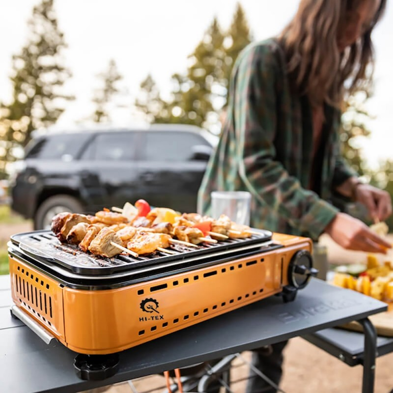 Hi-Tex 2 in 1 Portable Gas Grilling Stove with Carrying Bag