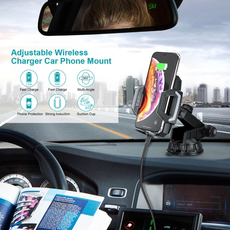 CHOETECH Adjustable Wireless Charger Car Phone Mount