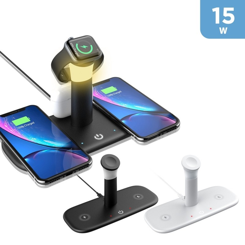 5 in 1 QI 15W Wireless Charger with LED Desk Lamp