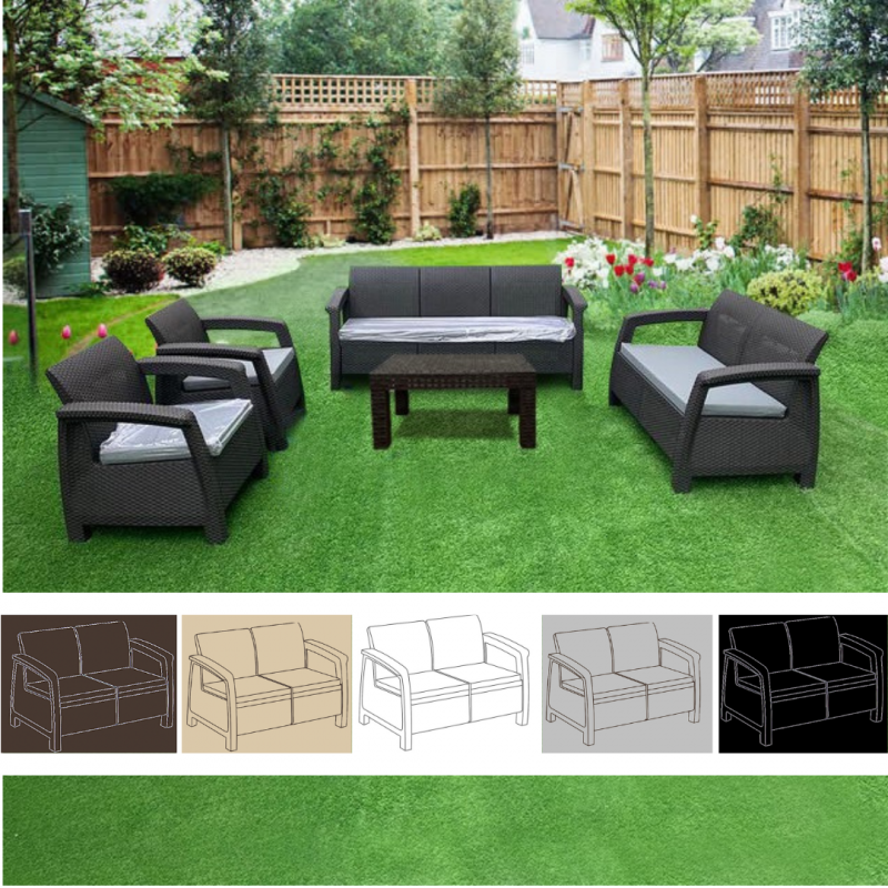 Stylish Outdoor Furniture Set (7 Seats + Table) Suitable for Chalet or Garden
