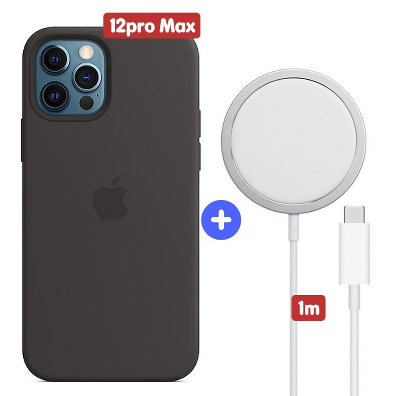 Apple iPhone 12 Pro Max Silicone Case - Black + Apple MagSafe Charger