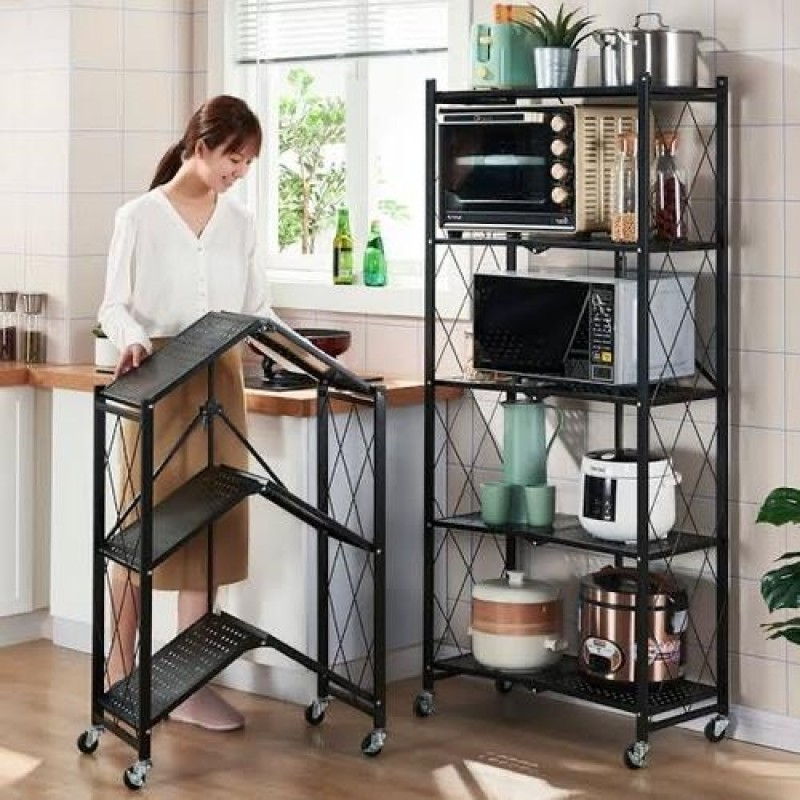 Foldable Multi-Tiers Metal Storage Rack with Wheels (Available in 3, 4 or 5 Tires)