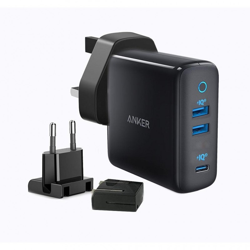 Anker Powerport III Travel Adapter with 3 Ports 65W  - Black