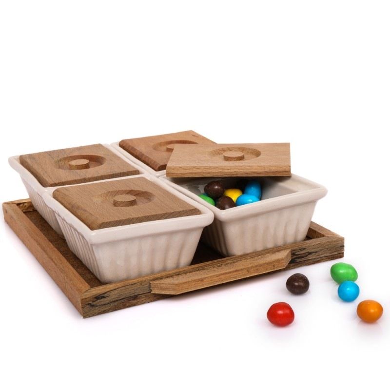 Wooden Serving Plate with Premium 4 Porcelain Plates For Serving Nuts