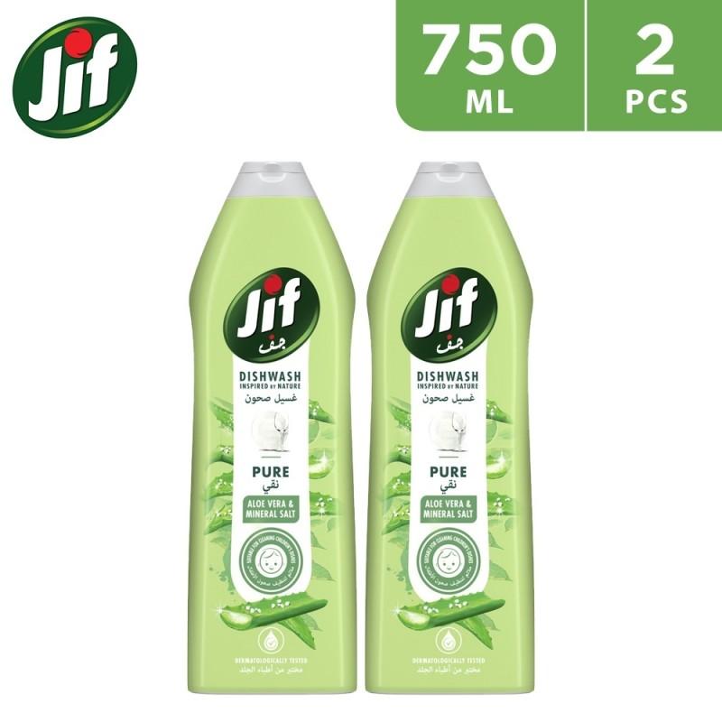 JIF Pure Dishwash Liquid Aloe Vera and Mineral Salt ( 2 × 750ml )