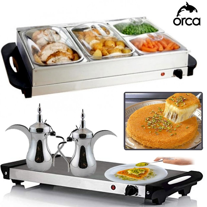 Orca 500W 2-in-1 Flat Surface and 4 Buffet Sections Food Tray Warmer