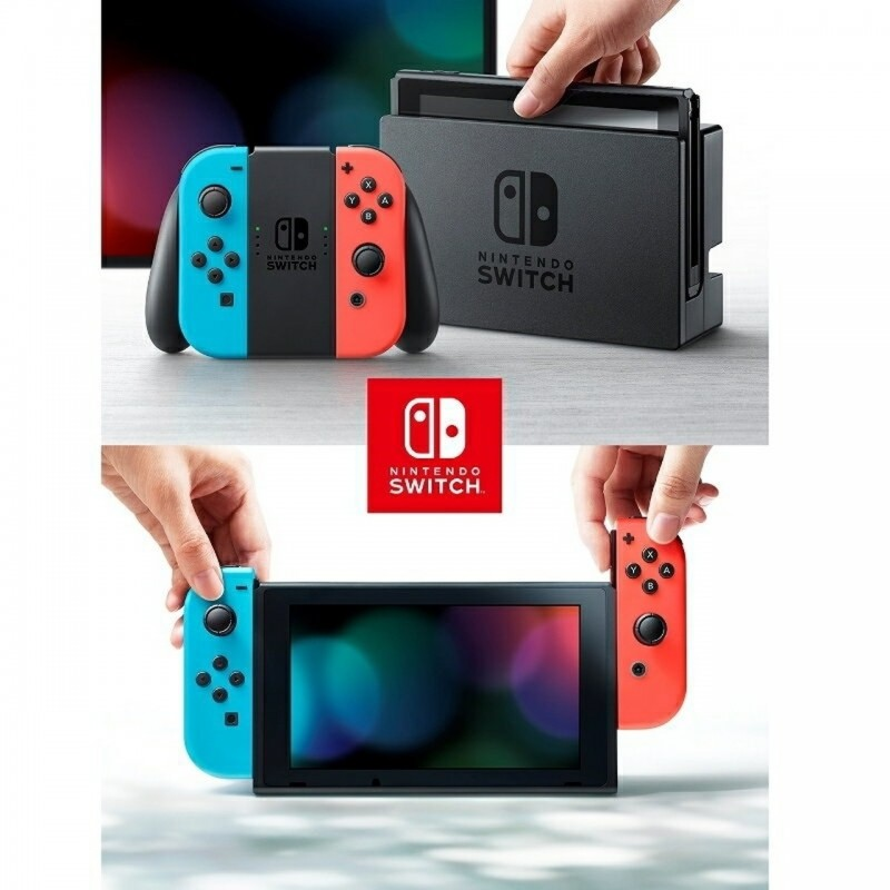 Nintendo Switch Console Neon Extended Battery - Neon Blue/Red