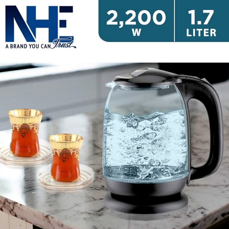 NHE 1.7L 2200W Glass Kettle with Built-in LED Blue Light