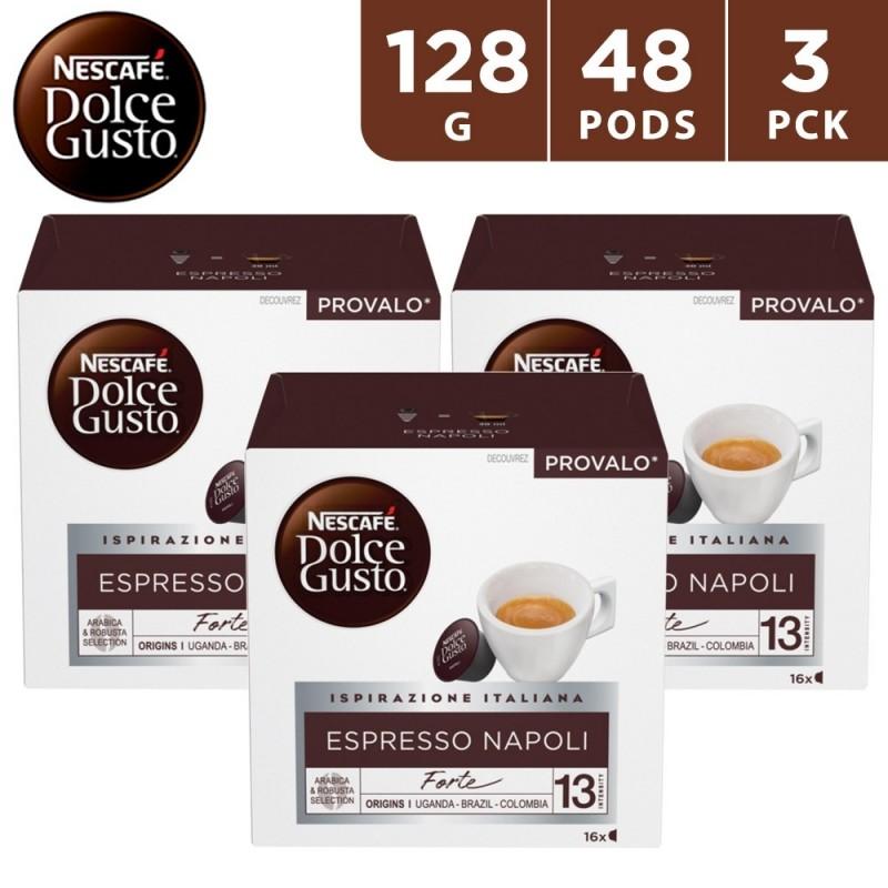 Nescafe Dolce Gusto Espresso Napoli Coffee Capsules 3 x 128 g (48 Capsules)