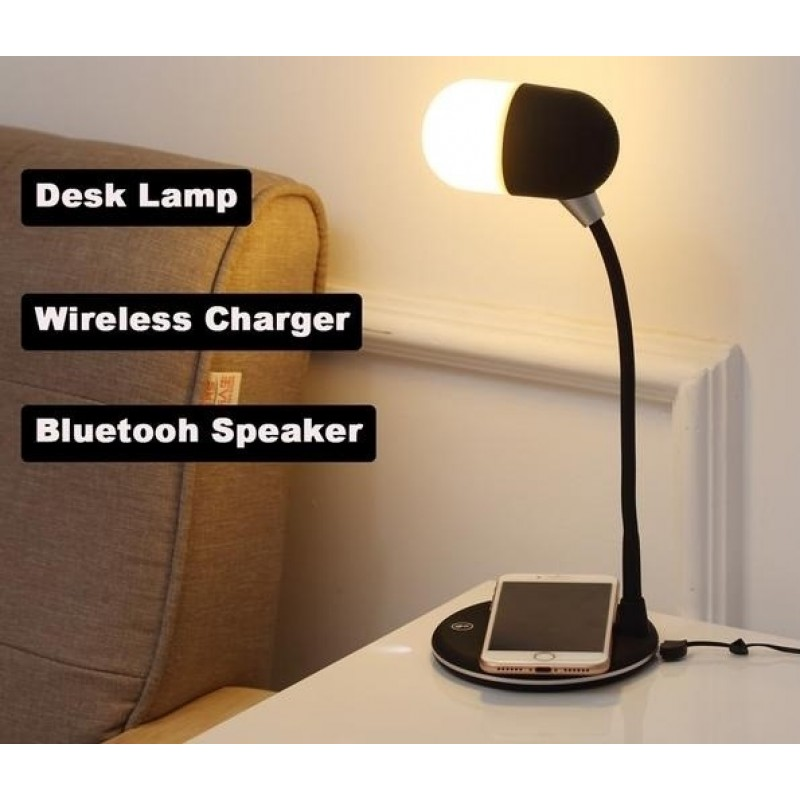 Desk LED Lamp Light with Wireless Charger Stand and Bluetooth Speaker - Black