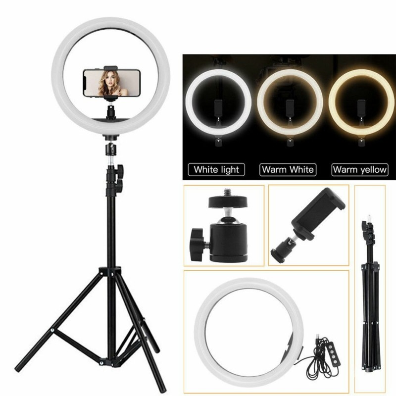 8 LED Ring Light Dimmable Phone Selfie Lights With Tripod