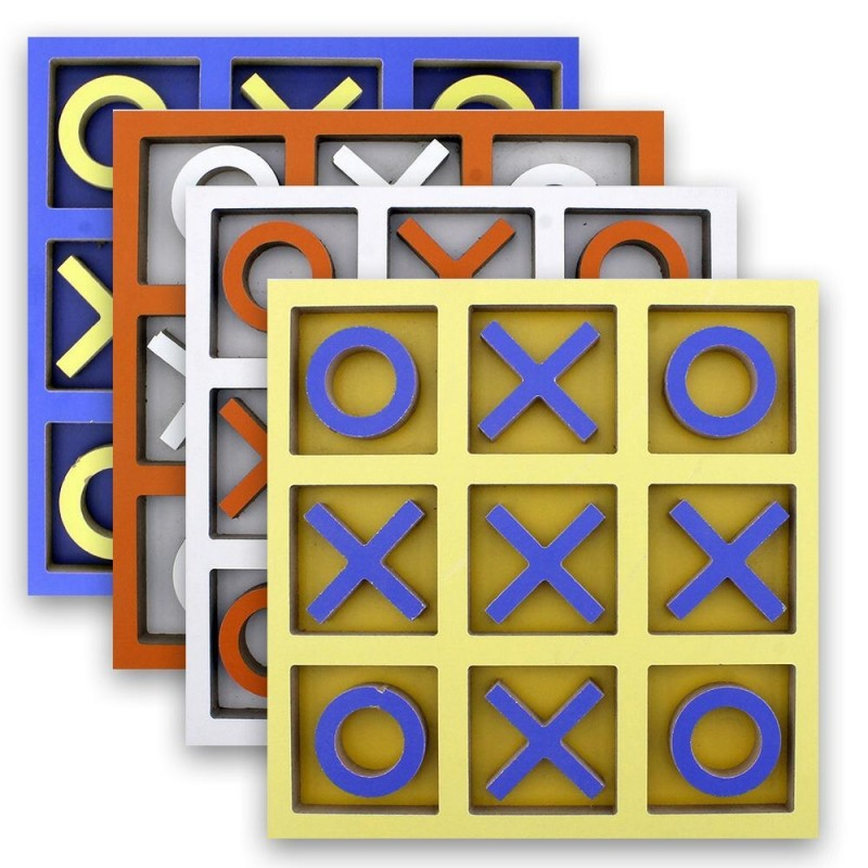 Wooden Tic Tac Toe Game (Assorted Colors)
