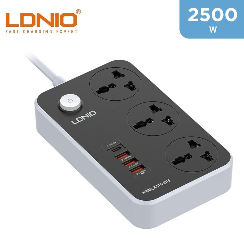 LDNIO Super Power Extension - 3 Universal Sockets - 1 PD USBC Port - 3 USB Ports -  2 Meters