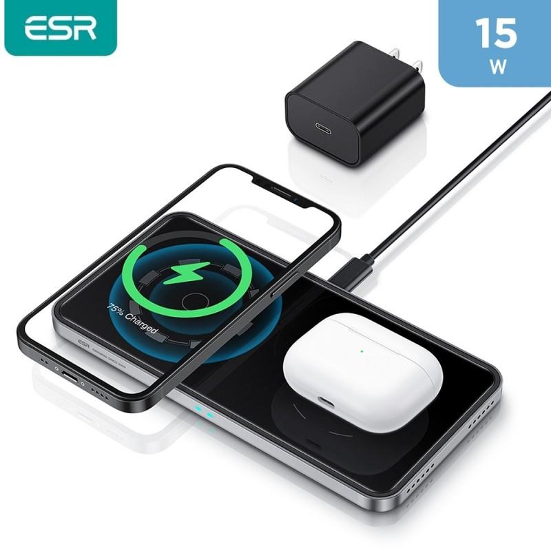 لوحة شحن مغناطيسية ثنائية بقوة 15 واط لسلسة هاتف ايفون 12  وشاحن لاسلكي للهواتف الأخرى والايربود - اسود من ESR