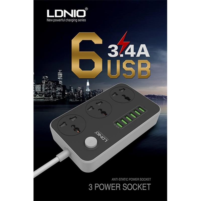 وصلة تمديد للتيار طول 2 متر ب 3 منافذ للشحن مع 6 منافذ USB من LDNIO